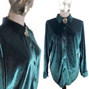 90s Vintage Green Velvet Long Sleeve Button Up